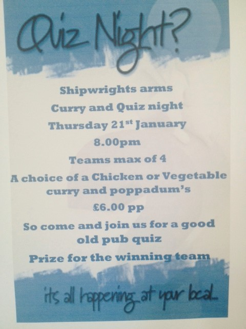 CURRY AND QUIZ NIGHT -Shipwrights